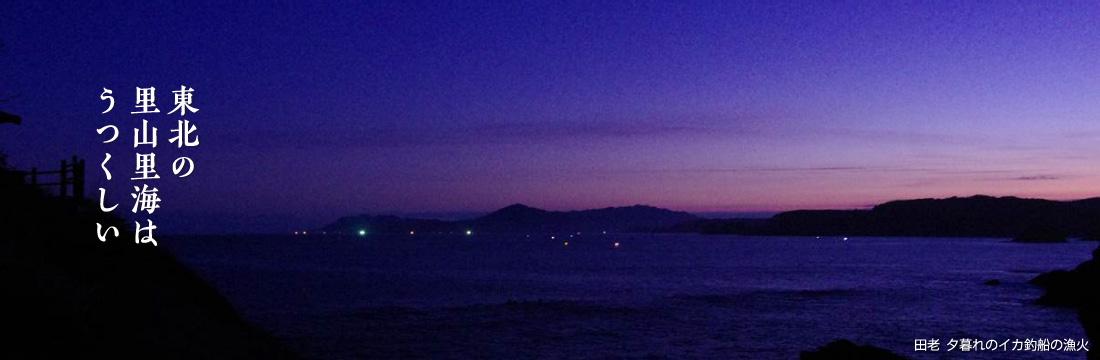 東北の里山里海はうつくしい 田老 夕暮れのイカ釣船の漁火